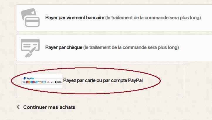 Selectionnez paiement Paypal ou Carte Bancaire